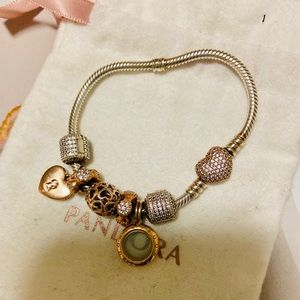 Pandora silver and rose bracelet + charms